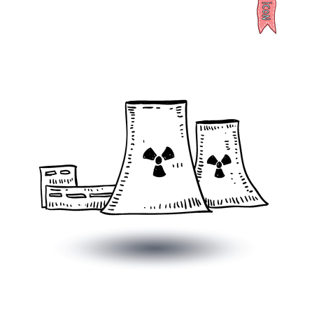 vector nuclear: nuclear power plant icon - vector illustration