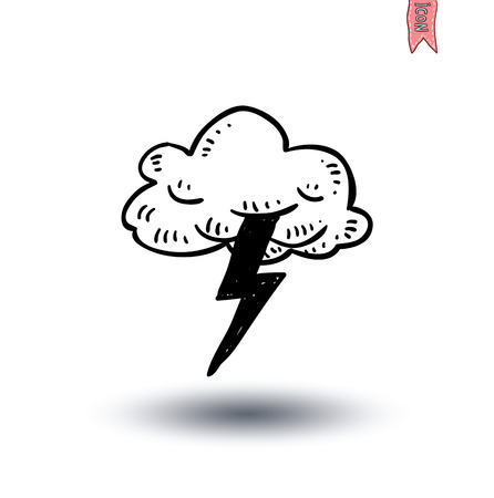 cartoon cloud: clouds and light thunder icon - vector illustration Illustration