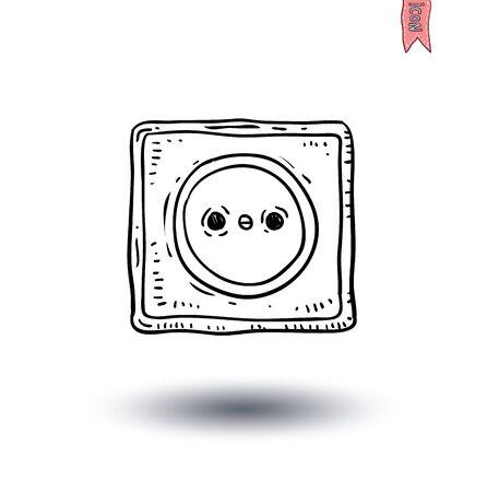 plug socket: Electric plug socket cable icon - vector illustration