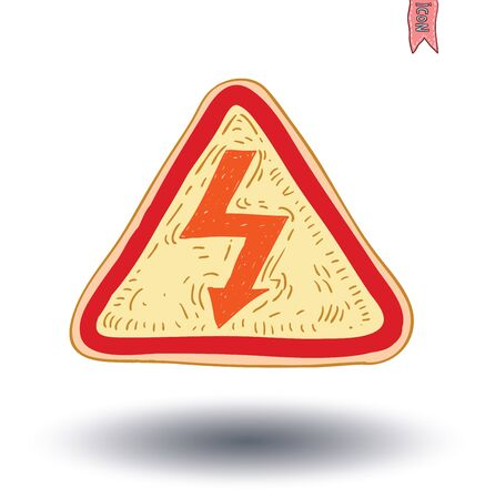 electroshock: Triangle sign with high voltage icon - vector illustration