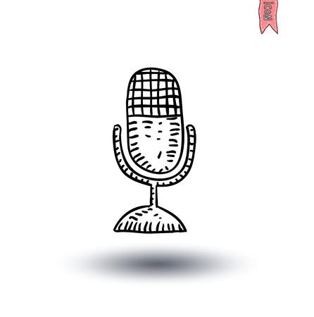 retro microphone: Retro microphone , hand drawn illustration.