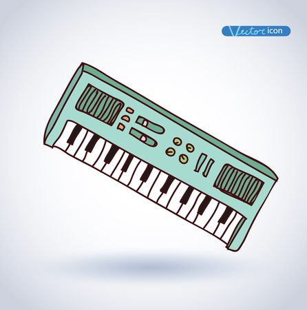 acoustically: Vector Piano Keyboard Icon, hand drawn illustration.