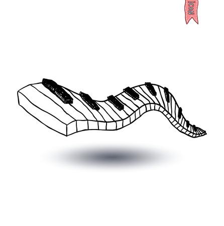 Vector Piano Keyboard Icon, hand drawn illustration.