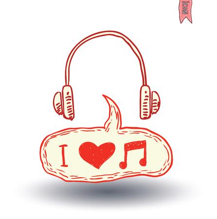 heart tone: Headphone and beats, hand drawn illustration.