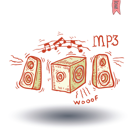 tweeter: Speakers Set, hand drawn illustration.