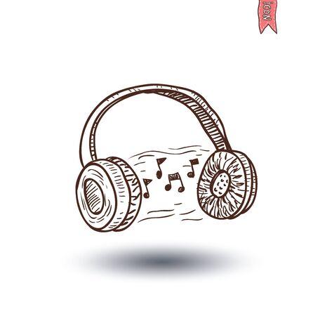 hand beats: Headphone and beats, hand drawn illustration.