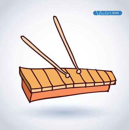 xilofono: Xil�fono dibujado a mano ilustraci�n vectorial.