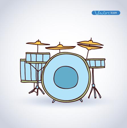 drums: Drums, hand drawn vector illustration. Illustration