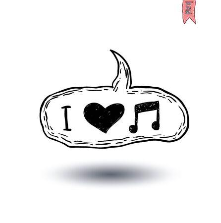 heart tone: Speech Bubble Musical Note love, hand drawn illustration.