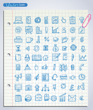 icons business: Set of business icons, Hand drawn vector illustration