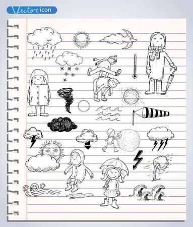 clima: elementos del tiempo, ilustraci�n vectorial.