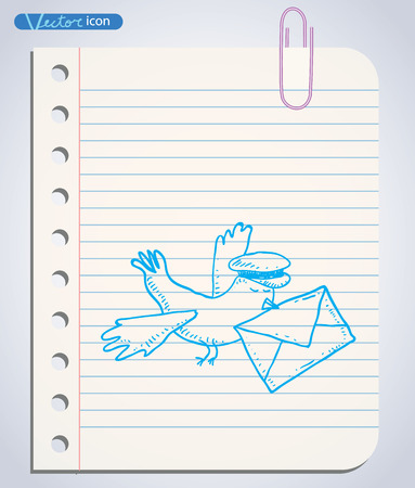 carrier pigeons: carrier pigeon with pilot cap and letter. Hand-drawn vector illustration.