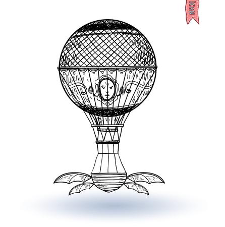 Steampunk vintage hot air balloon, hand drawn vector illustration. Illustration