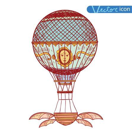 Steampunk vintage hot air balloon, hand drawn vector illustration. Vector Illustration