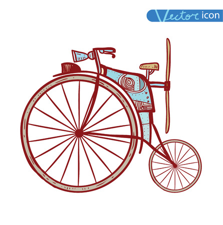 Bicycle Steampunk style, hand drawn vector illustration.