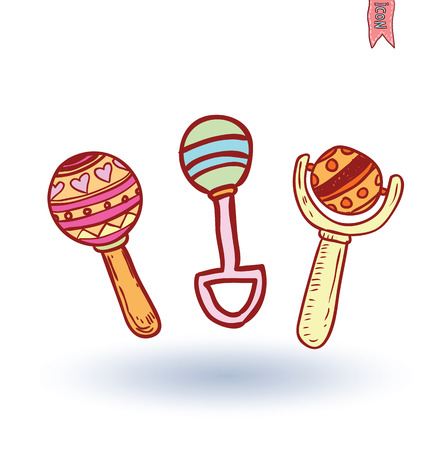 baby toy: baby rattle toy, vector illustration
