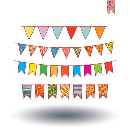 green day baby blue background: Bunting collection set, vector illustration. Illustration