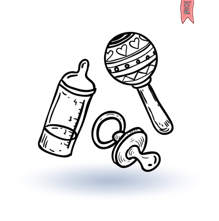 baby bottle: baby dummy and toy, vector illustration