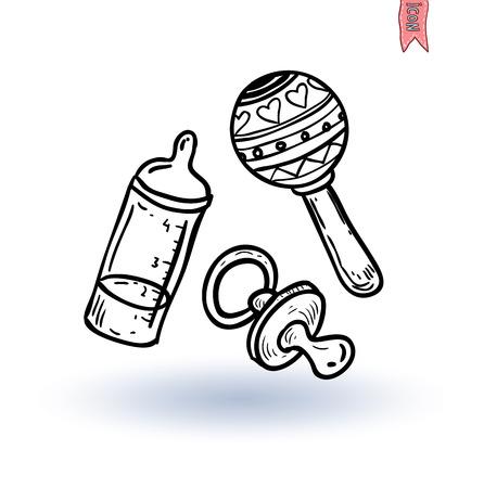 teteros: bebé maniquí y juguete, ilustración vectorial
