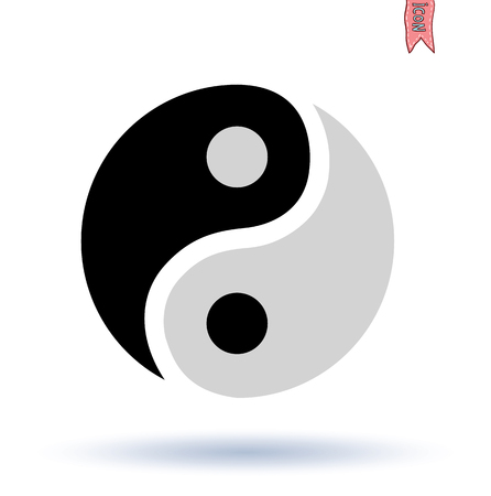 simbolos religiosos: Ying yang símbolo silueta del vector Vectores