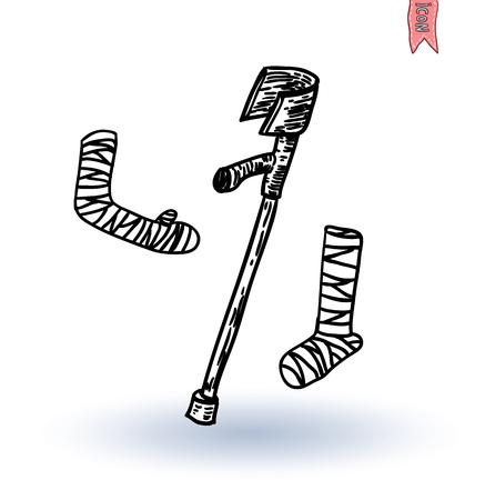 axillary: broken leg, vector illustration