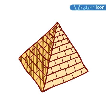 social history: doodle pyramid brick, vector illustration. Illustration