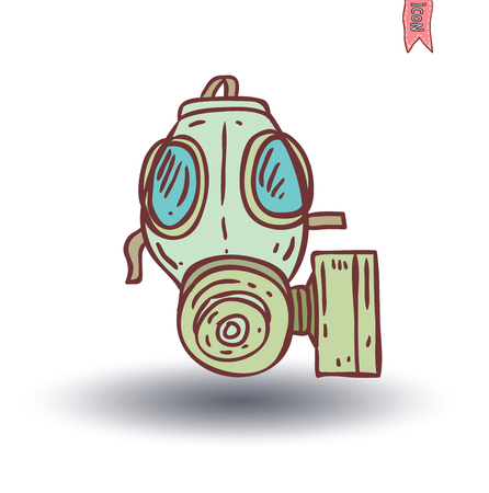 chemical weapons: Gas mask icon, vector illustration. Illustration