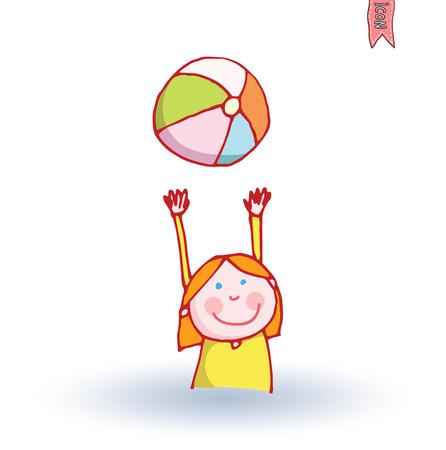 palying: Girl and ball, vector illustration.