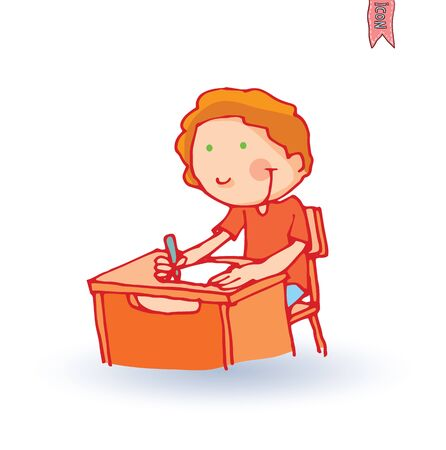 Школа: Малыш школа, векторные иллюстрации. Иллюстрация
