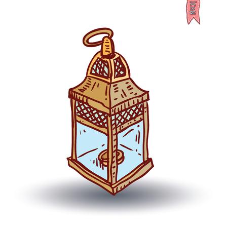 oil lamp icon, hand drawn vector illustration.