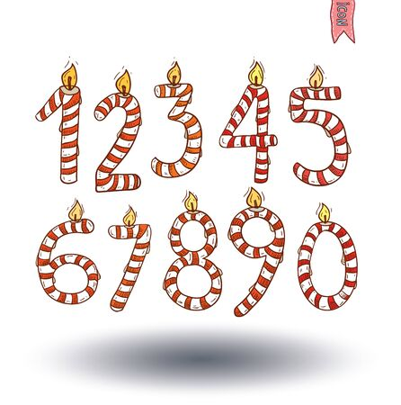 numbers icon: Anniversary Candle numbers icon, hand drawn vector illustration. Illustration
