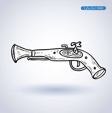 flint gun: Pirate Gun icon hand drawn vector illustration.