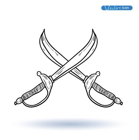 piraat zwaard, vector illustratie.