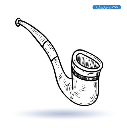 tobacco: tobacco pipe, vector illustration.