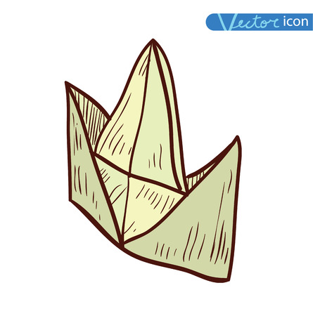 paper boat: paper boat, Origami  hand drawn illustration.