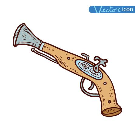 Pirate Gun icon hand drawn vector illustration.