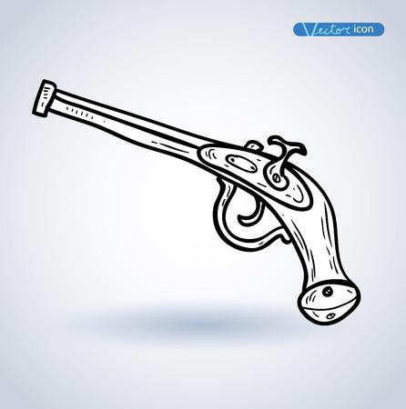 flint: Pirate Gun icon hand drawn vector illustration.