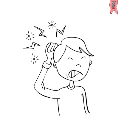 tightness: boy having really bad headache