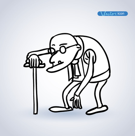 hunchback: old man, vector illustration. Illustration