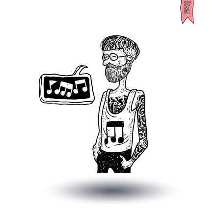 tatoo: Rock star, hand drawn illustration. Illustration