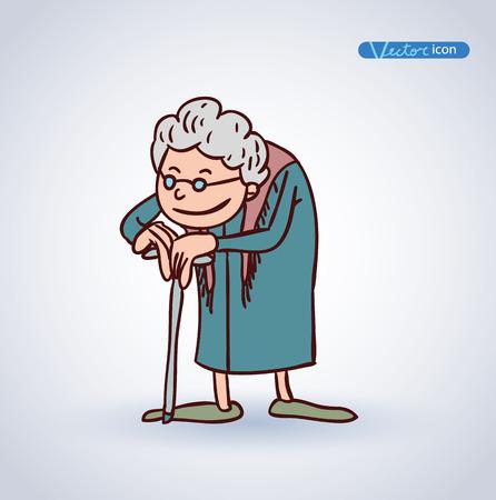 oude vrouw, vector illustratie.