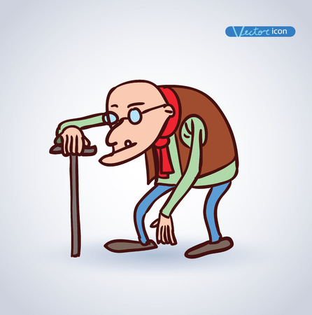 old man, vector illustration. Çizim