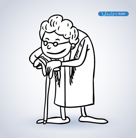 hunchback: old woman, vector illustration. Illustration