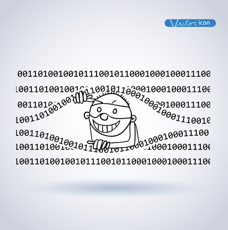 hacking: Cybercrime, Thief Hacking, vector illustration.