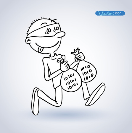 cybercrime: Cybercrime, Thief Hacking, vector illustration.