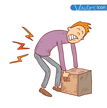 back in pain carrying heavy box, vector illustration.