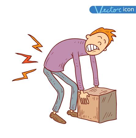 Retour dans la douleur transportant boîte lourde, illustration vectorielle. Banque d'images - 44694198