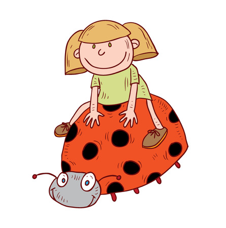 lady bug: girl ride lady bug, vector illustration. Illustration
