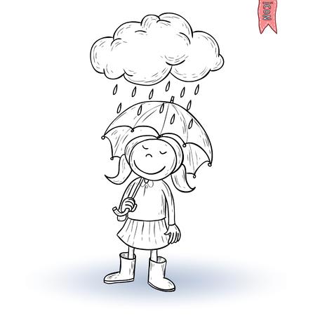 girl in rain: Little girl walking in the rain, vector illustration.