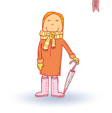 winter season: boy dressed for weather rain, vector illustration.